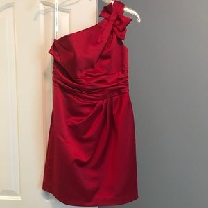 Red David's Bridal one strap with bow dress!